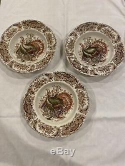 Johnson Brothers Wild Turkeys 3 SOUP BOWLS Windsor Ware, Native American