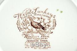 Johnson Brothers Wild Turkeys 4 SALAD PLATES Windsor Ware, Native American, EXC