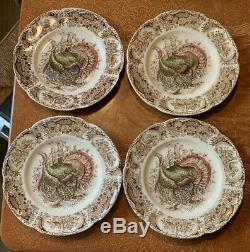 Johnson Brothers Wild Turkeys 4 SALAD PLATES Windsor Ware, Native American Mint