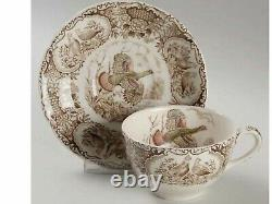 Johnson Brothers Wild Turkeys Brown Flat Cup & Saucer-service For 12-nice