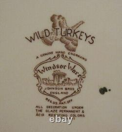 Johnson Brothers Wild Turkeys Brown Oval Platter China Bros