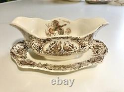 Johnson Brothers Wild Turkeys Native American, Gravy Boat with Attached Underplate