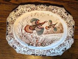 Johnson Brothers Windsor Ware Wild Turkeys in Flight 20 Oval Serving Platter