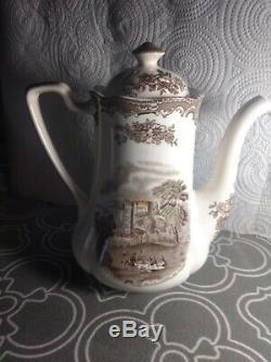 Johnson bros england old britain castles brown multi color coffee pot