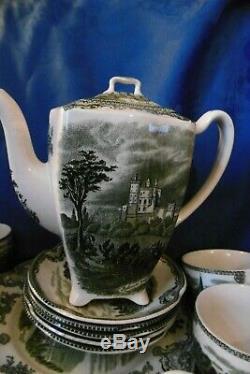 Johnson bros old britain castles grün Kaffeeservice für 5 Personen 18 teilig