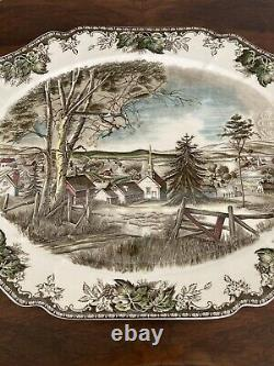LARGE FRIENDLY VILLAGE TURKEY PLATTER JOHNSON AND BROTHERS 20 x 15.5 ENGLAND