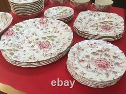 Lot of 32 Pieces Rose Chintz Dinnerware Johnson Bros