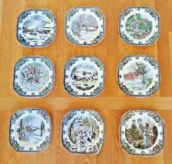 Lot of 9 Johnson Bros THE FRIENDLY VILLAGE Square Salad Plates Christmas Winter