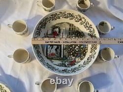 Merry Christmas Johnson Brothers 12 Punch / Salad Bowl with 8 Mugs