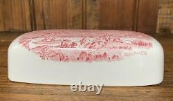 NEW Retired JOHNSON BROTHERS BROS OLD BRITAIN CASTLES PINK Covered Butter Dish