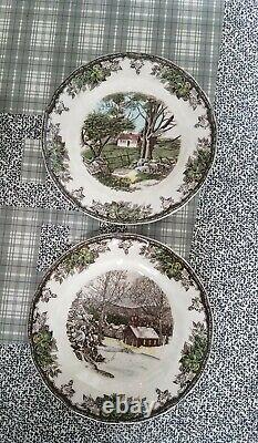 NIB Full Set 6 Johnson Brothers Friendly Village CHRISTMAS CANAPE PLATES ASSORTE