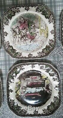 NIB Full Set 6 Johnson Brothers Friendly Village CHRISTMAS Square Accent Plates