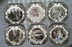 NIB Full Set 6 Johnson Brothers Friendly Village CHRISTMAS Square Accent Plates