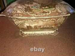 Old Britain Castles Brown / Multi- Johnson Brothers Lg. Rectangle Soup Tureen