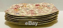 Old English Chintz Pattern Johnson Brother Set of 6 Square Salad Plate excellent