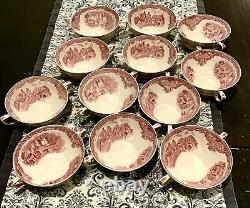 RARE 6 Johnson Bros Old Britain Castles CREAM SOUP BOWLS Pink Red