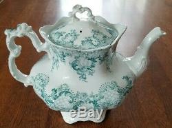 RARE Antique 1900s Johnson Bros Royal Semi-Porcelain Blue-Green CLOVERLY Tea Pot