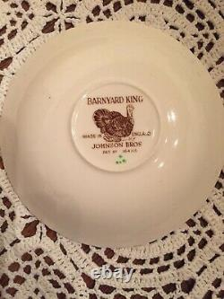 RARE! JOHNSON BROTHERS BARNYARD KING TURKEY SET OF 12 CUPS And 15 SAUCERS