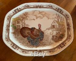 RARE Johnson Brothers Barnyard King Turkey Platter 20 1/4 X 16 LARGE