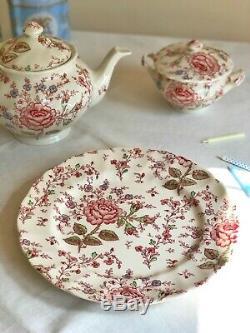 RARE! TEAPOT'Rose Chintz Pink' JOHNSON BROTHERS Transferware cream red tea pot