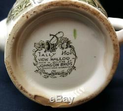RARE Vintage Johnson Bros Tally Ho Coffee Pot View Halloo Hunt Scene