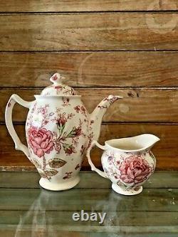 RARE Vintage ROSE CHINTZ Coffee Pot Johnson Bros. Transferware WITH CREAMER