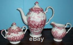 Rare Johnson Bros Red/pink Coaching Scenes 5 Cup Tea Pot /coffee Pot Cr. & Sugar