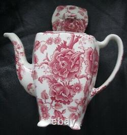 Rare Johnson Brothers English Chippendale Red Pink Teapot Roses Patent 1032 32