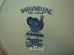 SET 4 DINNER PLATES, BARNYARD KING BLUE, JOHNSON BROTHERS, ENGAND first quality