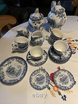 Service Cafe Thé Johnson Brothers Coaching Scènes 8 Tasses 22 P 2 Pots