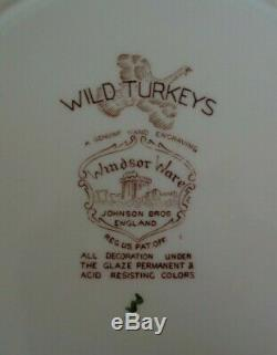 Set 12 Windsor Ware Wild Turkeys Johnson Bros. No Native American Dinner Plates