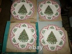 Set 4 Johnson Brothers Old Britain Castles Pink & Green Christmas Dinner Plates