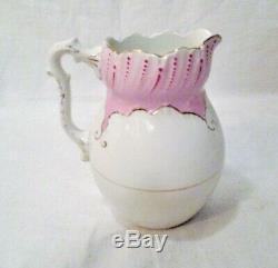 Set 5 Pcs ROYAL SEMI-PORCELAIN JOHNSON BROS Pink Pitcher & BowlCarafeVaseCup