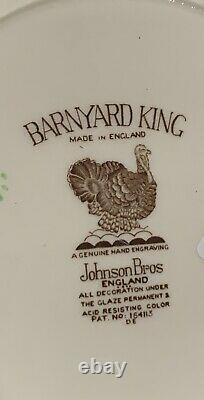 Set 8 Johnson Brothers BARNYARD KING 10 3/4 Turkey Dinner Plate England NEW