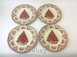 Set Four Johnson Bros Old Britain Castles Christmas Tree 10.5 Dinner Plates