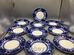 Set Of 10 Johnson Brothers Flow Blue China Plates c1900 8 Wide