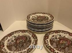 Set Of 12 Johnson Bros His Majesty Autumn monarch Turkey Dinner Plates 10.75