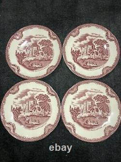 Set Of 4 Johnson Brothers Old Britain Castles Pink Cups & Saucers Excellent