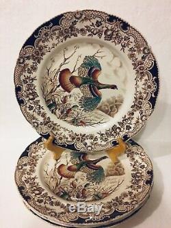 Set Of 4 Windsor Ware Wild Turkeys 10½ Dinner Plates Hand Engraved Johnson Bros