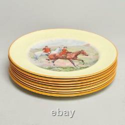 Set Of Eight (8) Johnson Brothers Pareek Fox Hunting Dinner Plates 10.5