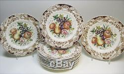 Set of 12 JOHNSON BROS. Windsor Ware HARVEST FRUITS Dinner Plates 10.75