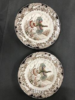 Set of 2 Johnson Brothers Wild Turkey Native American Windsor Ware Dinner Plates