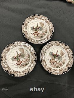 Set of 3 Johnson Brothers Wild Turkey Native American Windsor Ware Dinner Plates