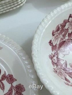 Set of 43 Windsor Ware Johnson Brothers China Red Apple Blossom England