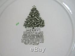Set of (4) Johnson Bros. Merry Christmas Dinner Plates