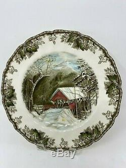 Set of 6 Johnson Brothers Friendly Village Dinner Plates Autumn Mists, Bridge ++