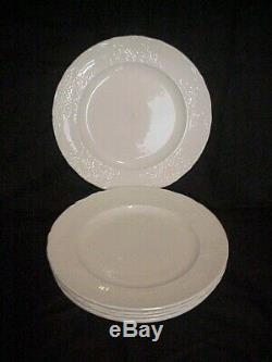 Set of 6 Johnson Brothers RICHMOND White 10 1/8 Dinner Plates Embossed Trellis