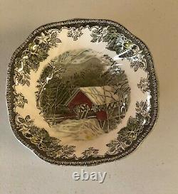 Set of 80 johnson brother friendly village / Saucer Dinner Plates, cups, bowls