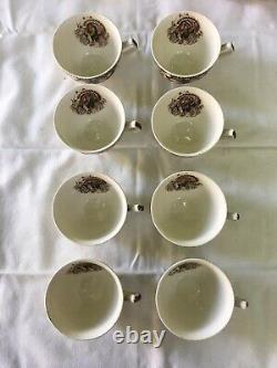 Set of 8 JOHNSON BROS VtgHIS MAJESTY THANKSGIVING TURKEY TEA CUPS, England