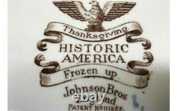 Set of 8 Vtg Johnson Bros Thanksgiving Historic America Frozen Up Dinner Plates